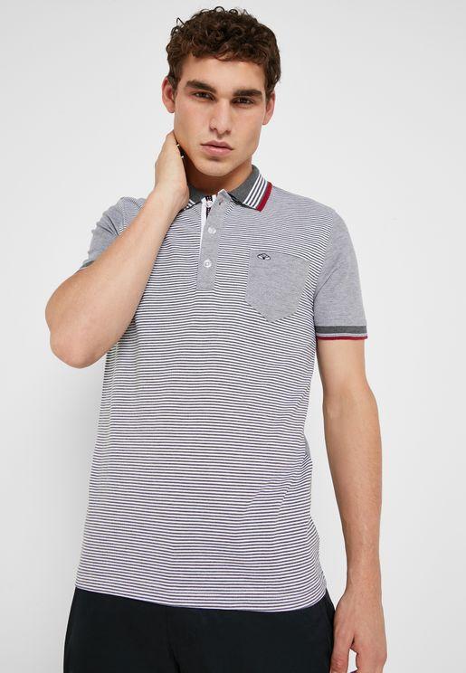a731542f1103 Stripe Collar Polo Shirt