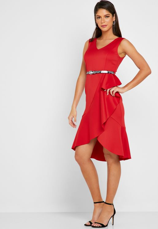 Belted Ruffle Detail Dress