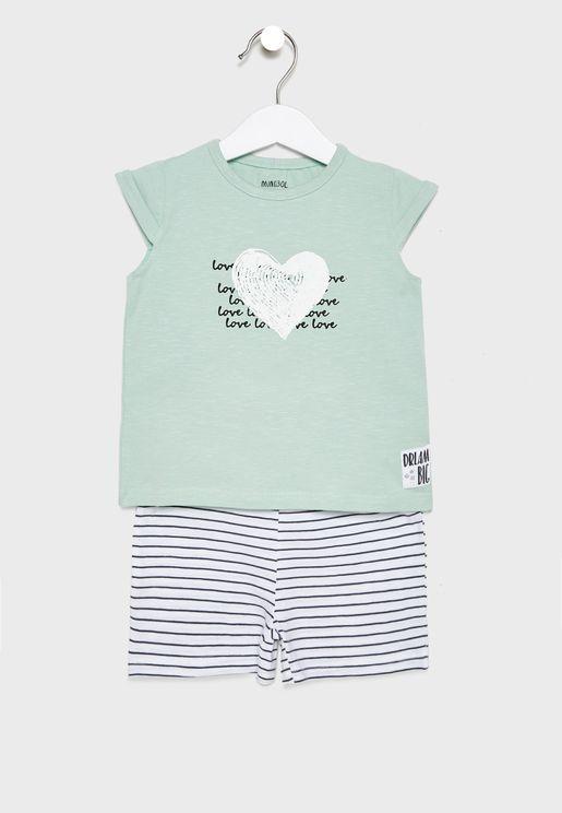 Infant Heart T-Shirt + Shorts Set