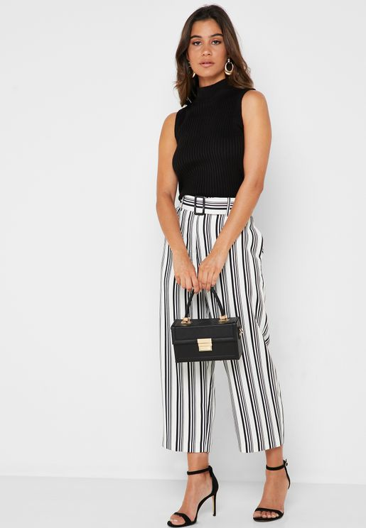 Belted Striped Cropped Pants