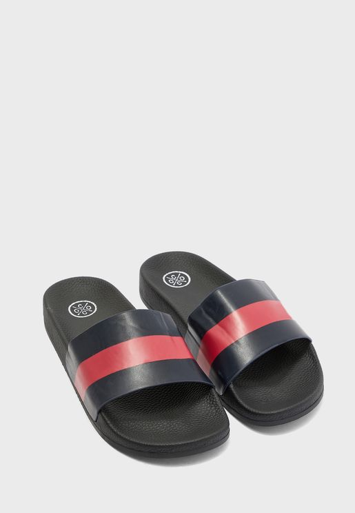 Alyssa Striped Slides