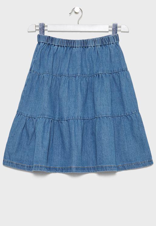 Kids Flared Denim Skirt
