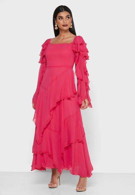 Ruffle Detail Puff Sleeve Dress