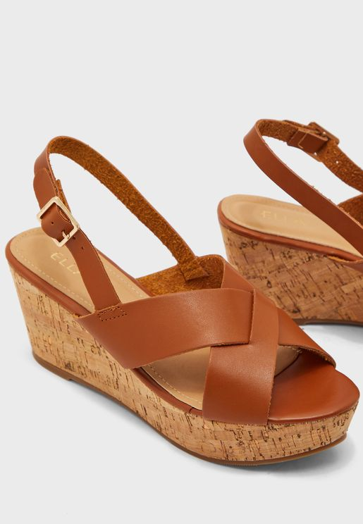 Cross Front Wedge Sandals