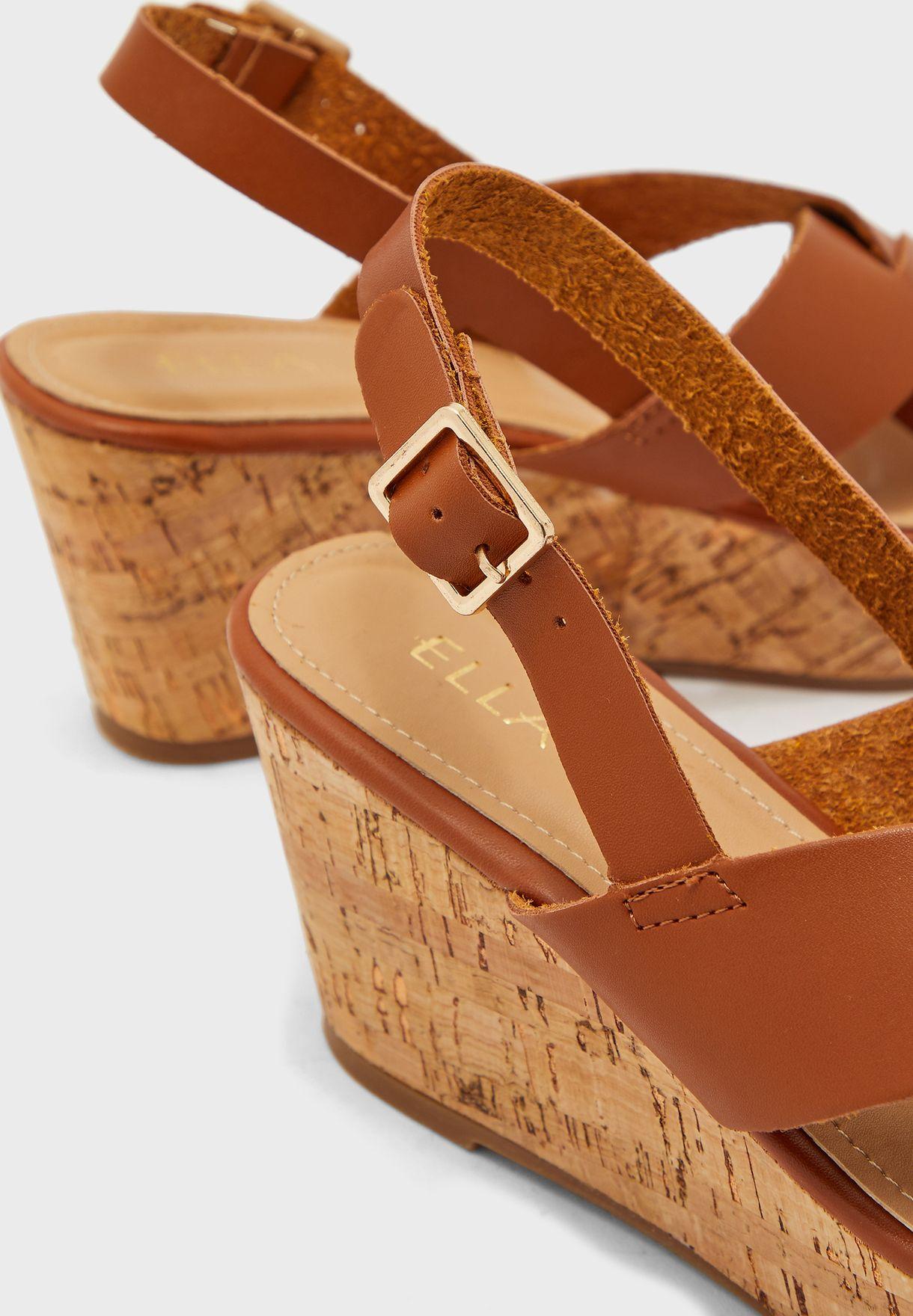 Cross Front Wedge Sandals