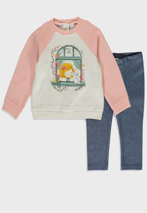 Infant Graphic Sweatshirt + Leggings Set