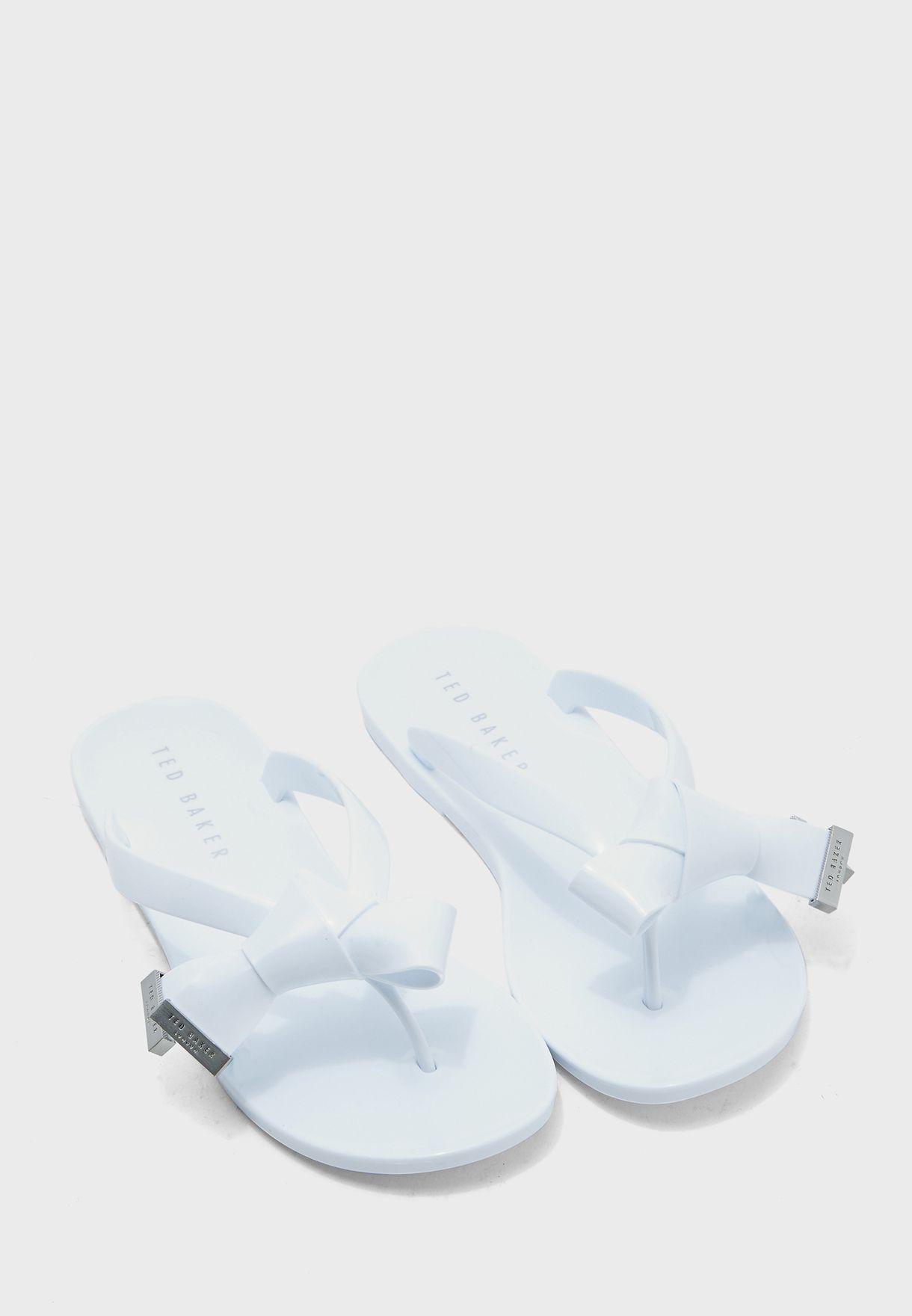 Luzzi Origami Bow Thongs - White