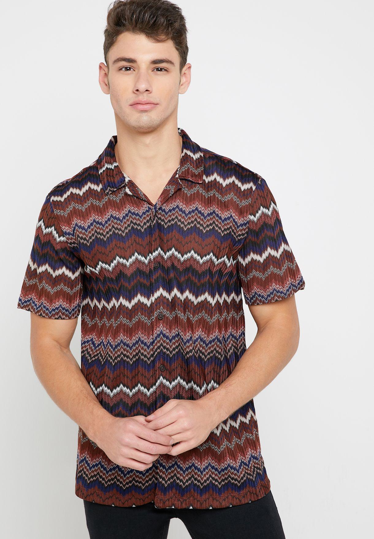 Knitted Chevron Revere Shirt