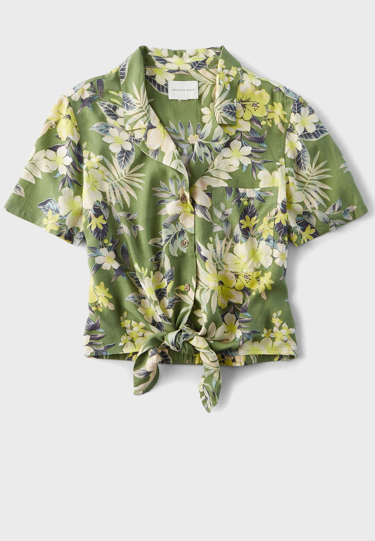 Tie Front Printed Shirt