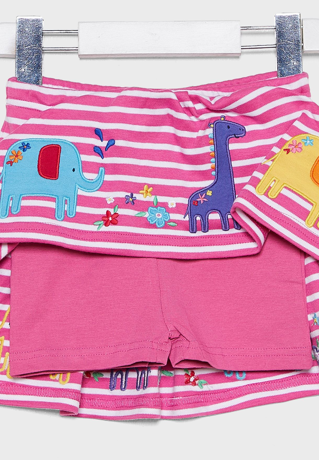 Kids Giraffe And Ele Applique Skort