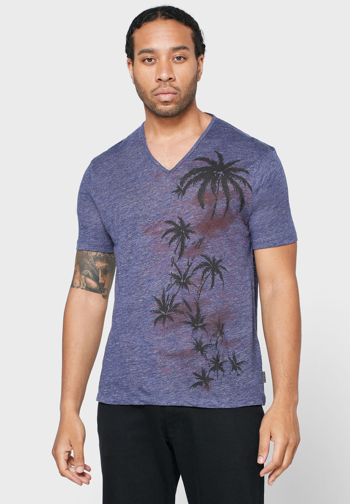 Bethel Palm Print V-Neck T-Shirt