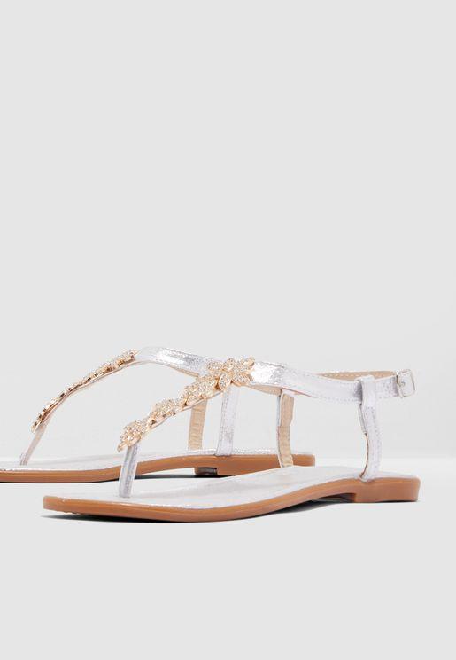 Embellished Buckle Sandal - Silver