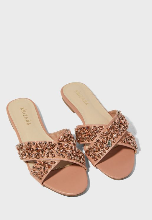 Jewel Encrusted Crossover Flat Sandals