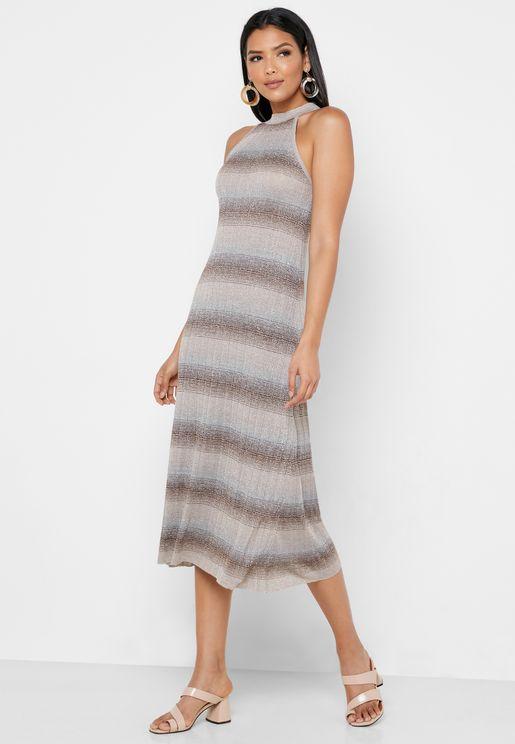 Halter Neck Striped Ribbed Dress