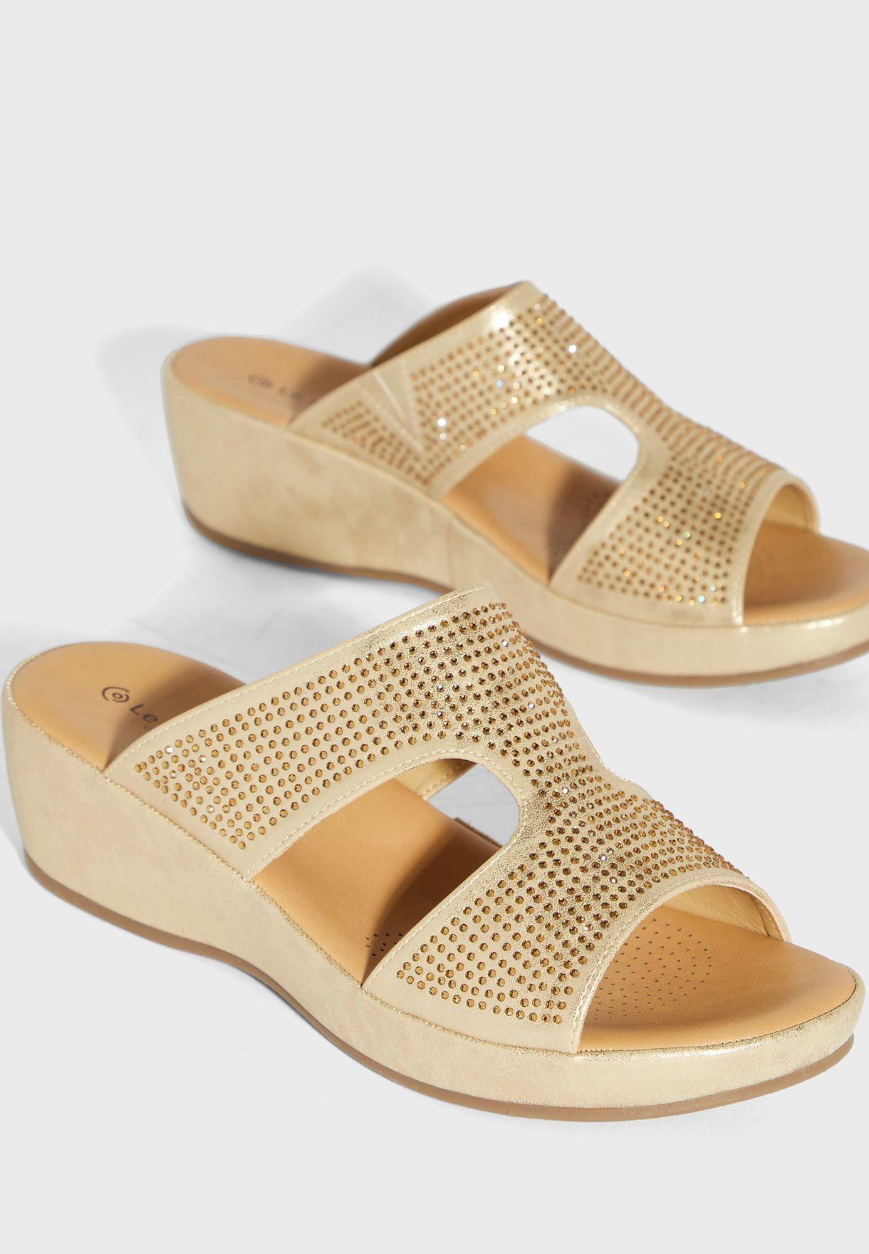 Embellished Wide Strap Wedge Sandal