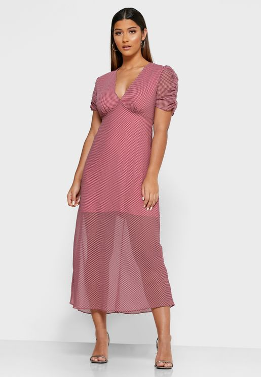 Ruched Sleeve Sheer Dress