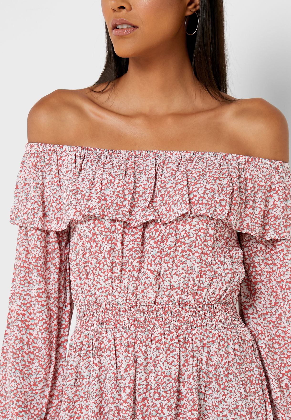 Printed Off Shoulder Dress