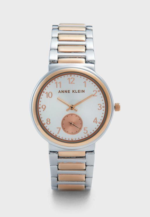 ساعة بحزام من لونين