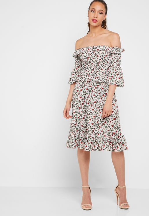 Ditsy Print Sheered Bardot Dress