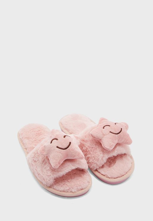 Happy Star Open Toe Bedroom Slippers