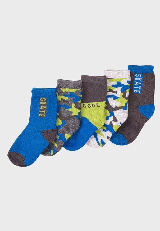 Infant 5 Pack Skate Cool Camo Socks