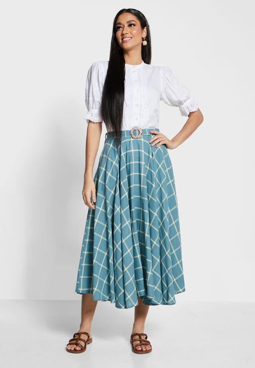 Earthen  Checks Belted Midi Skirt
