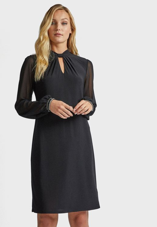 Front Keyhole Trim Cuff Dress