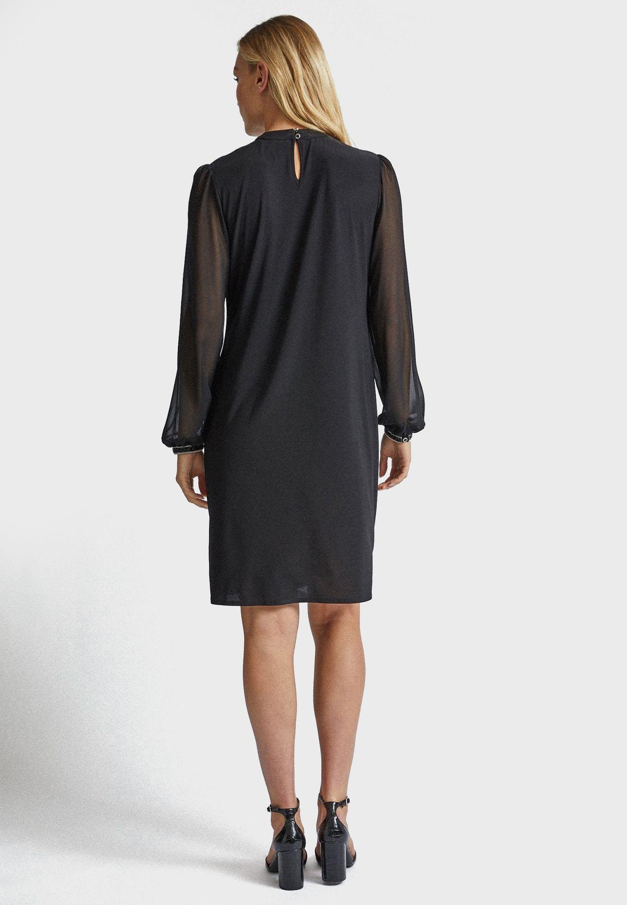 Front Keyhole Trim Cuff Dress