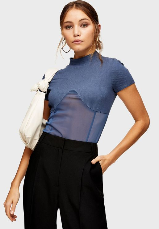 High Neck Mesh Detail Top