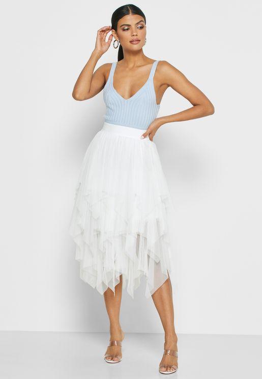 Asymmetric Layered Mesh Skirt