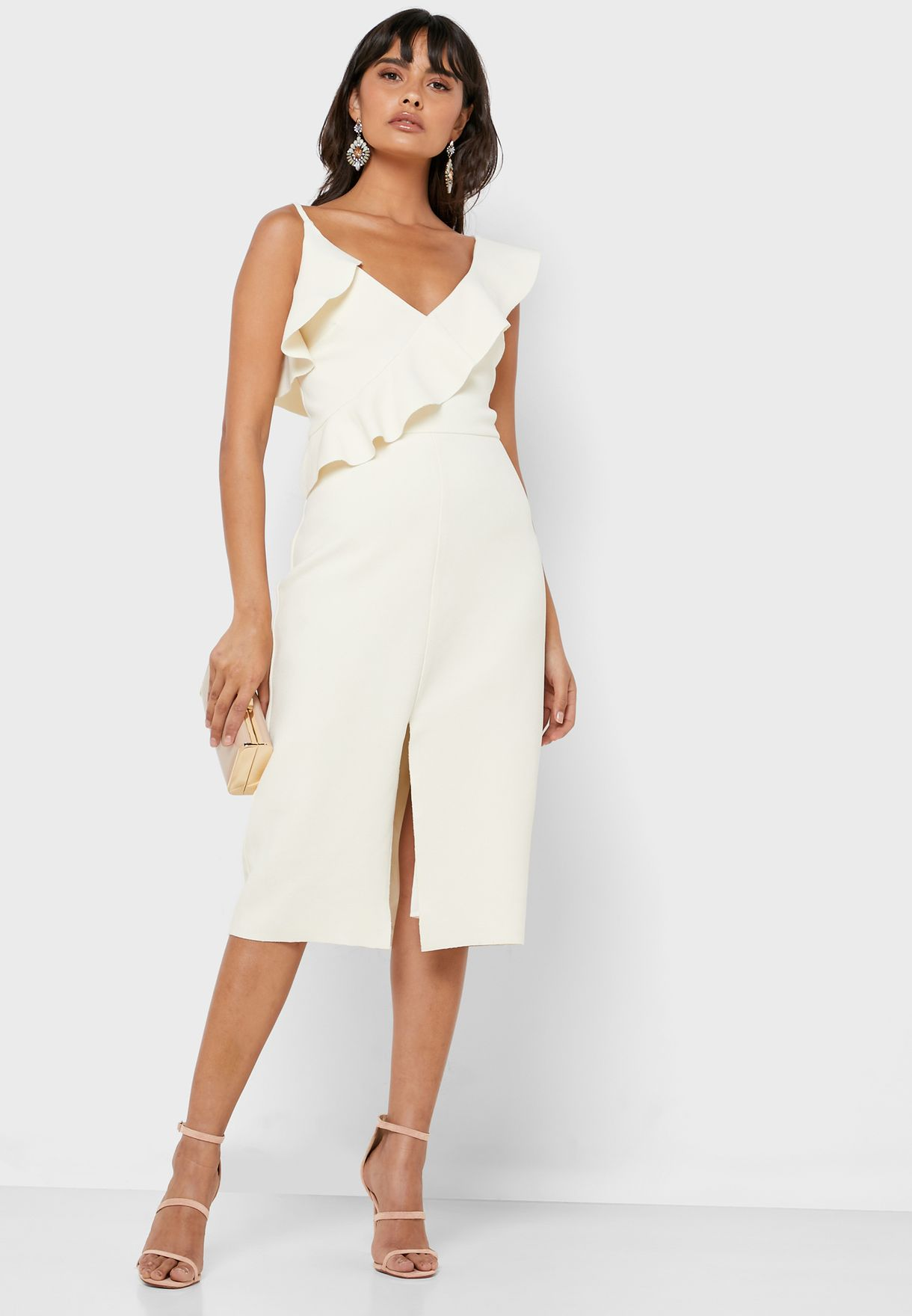 Ruffle Trim Front Slit Dress
