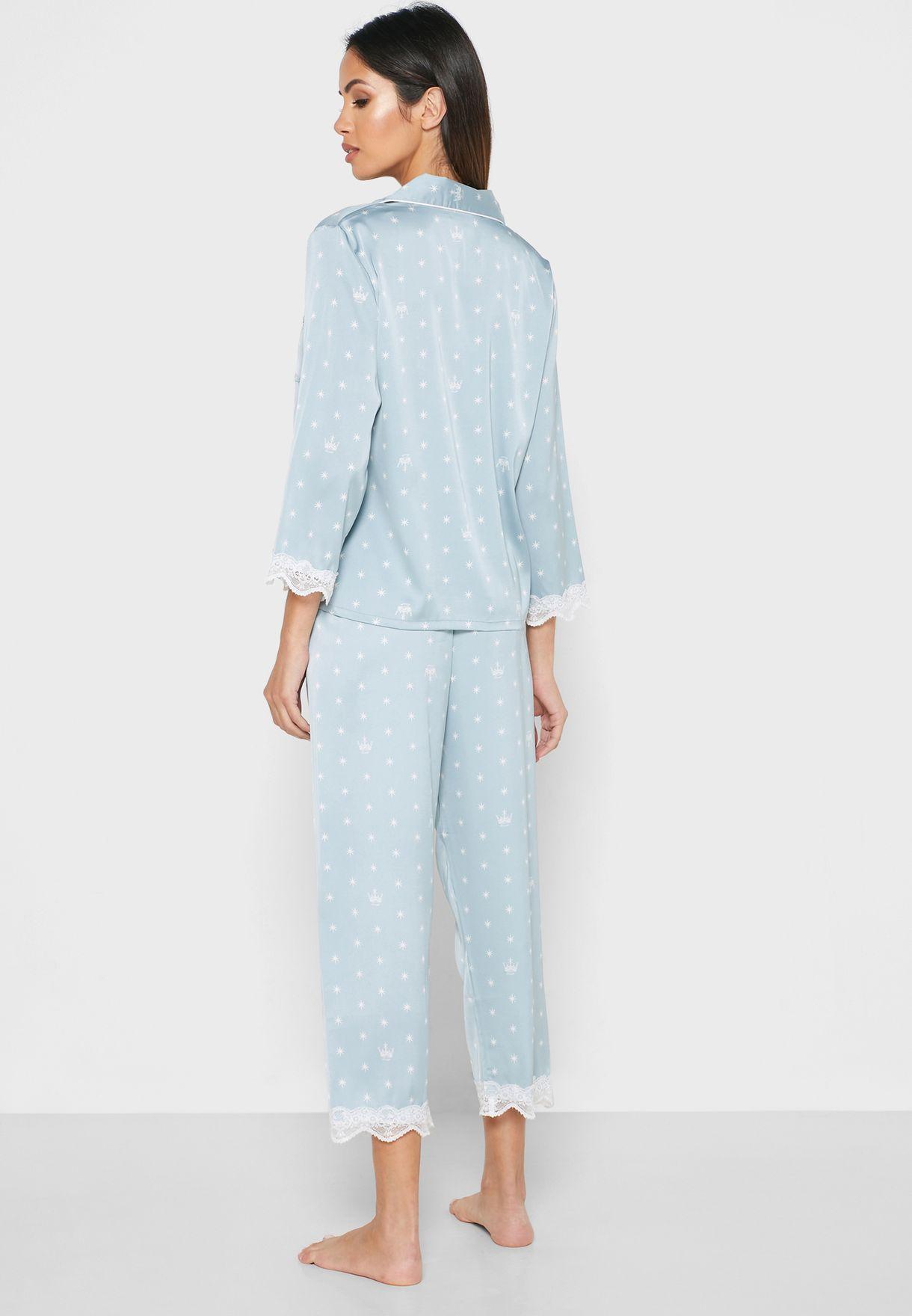 Polka Dot Lace Hem Shirt Pyjama Set