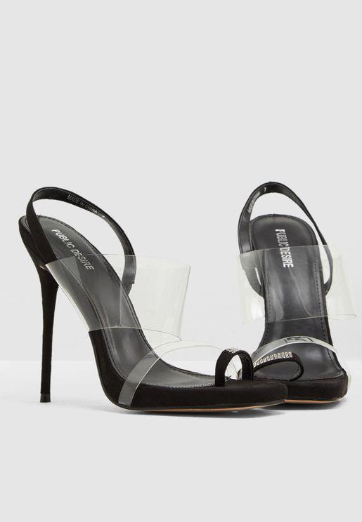 83ca6292e127 Risky Biz Back Ankle Perspex Sandal