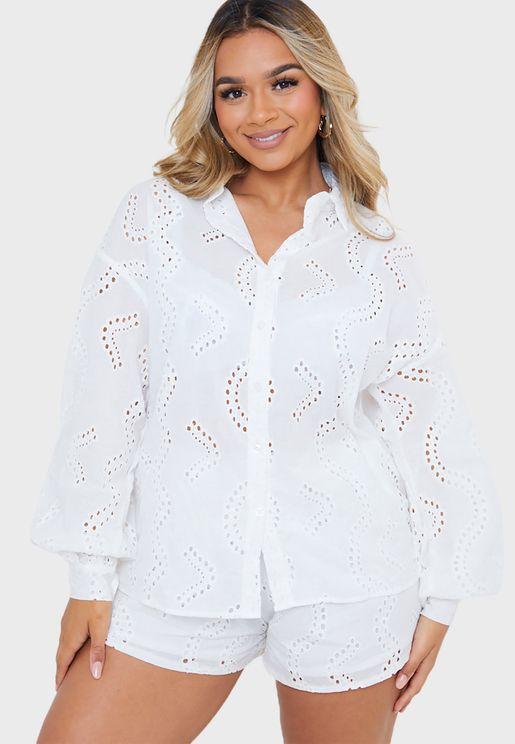 Broderie Balloon Sleeve Shirt