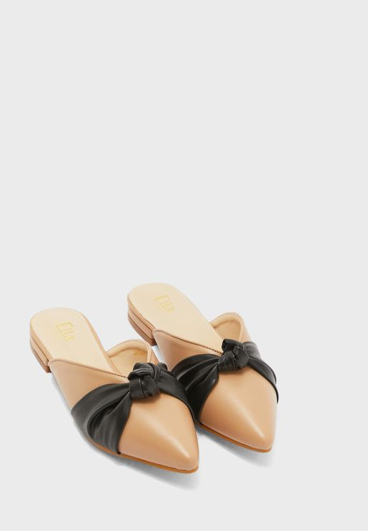 Open Back Knot Front Pointed Shoe