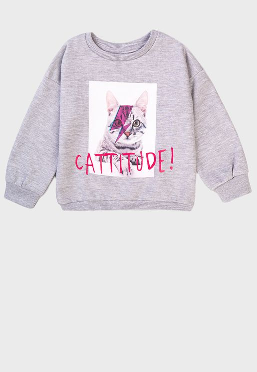 Kids Cattitude Basic Crew Sweater
