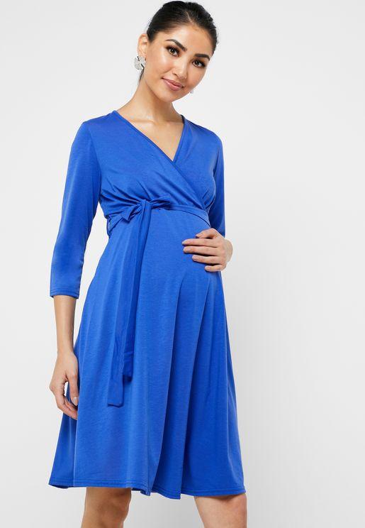 فستان بخصر مطاطي واربطة