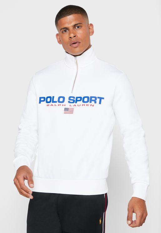 Logo Printed Half Zip Sweatshirt