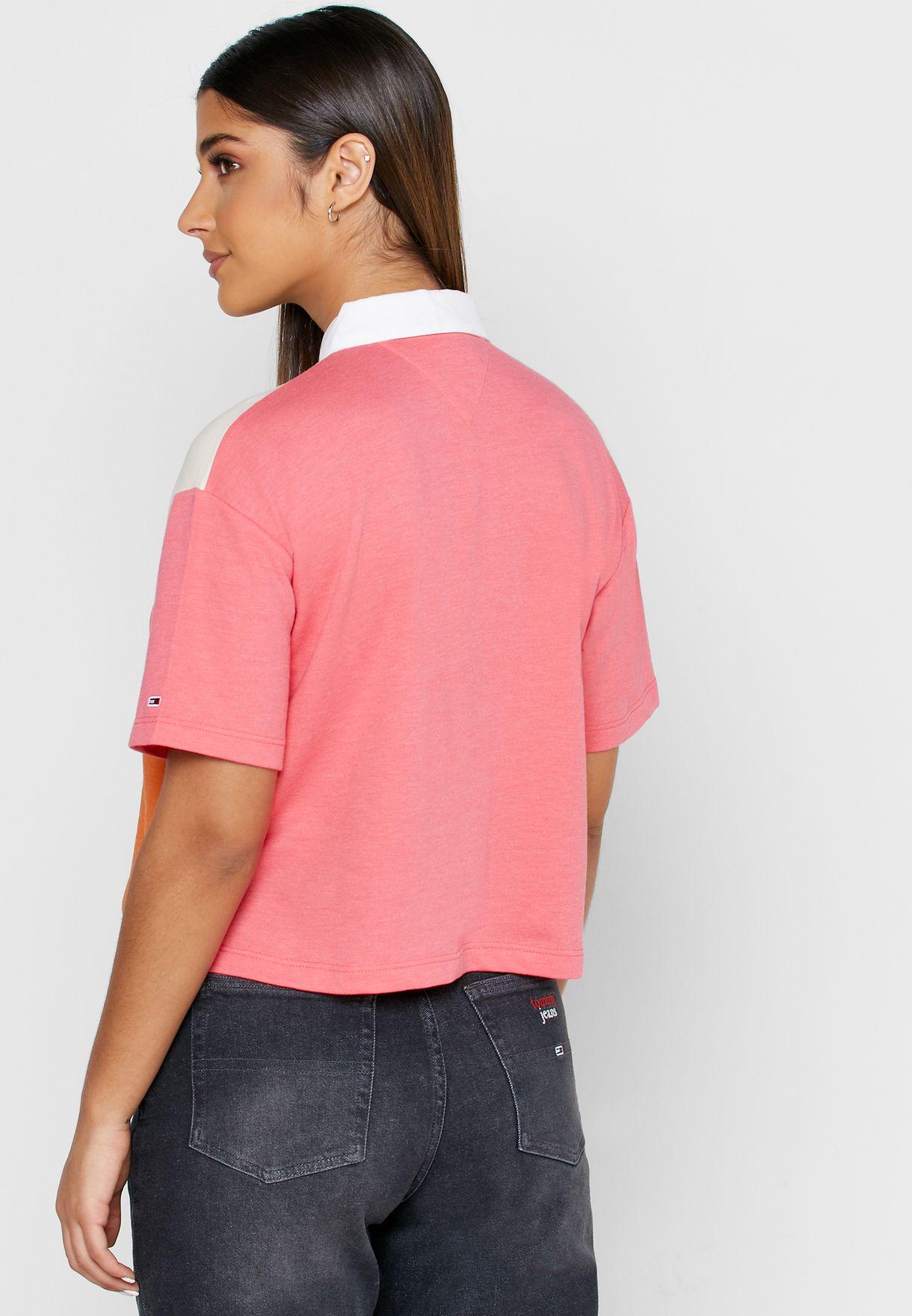 Tommy Jeans Damen Tjw Colorblock Logo Polo Hemd