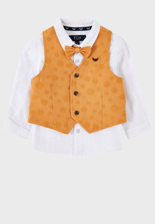 Kids Tucket Shirt With Waistcoat & Bow Tie