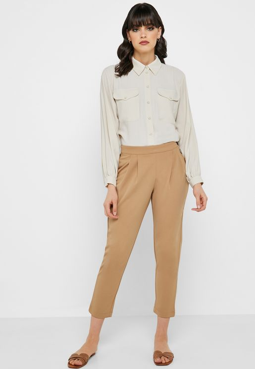 Button Detail Pleated Pants