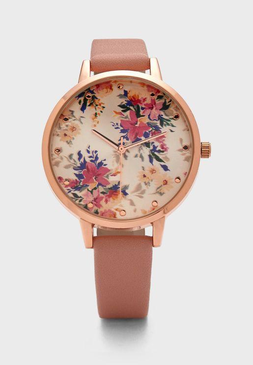 Floral Detail Strap Watch