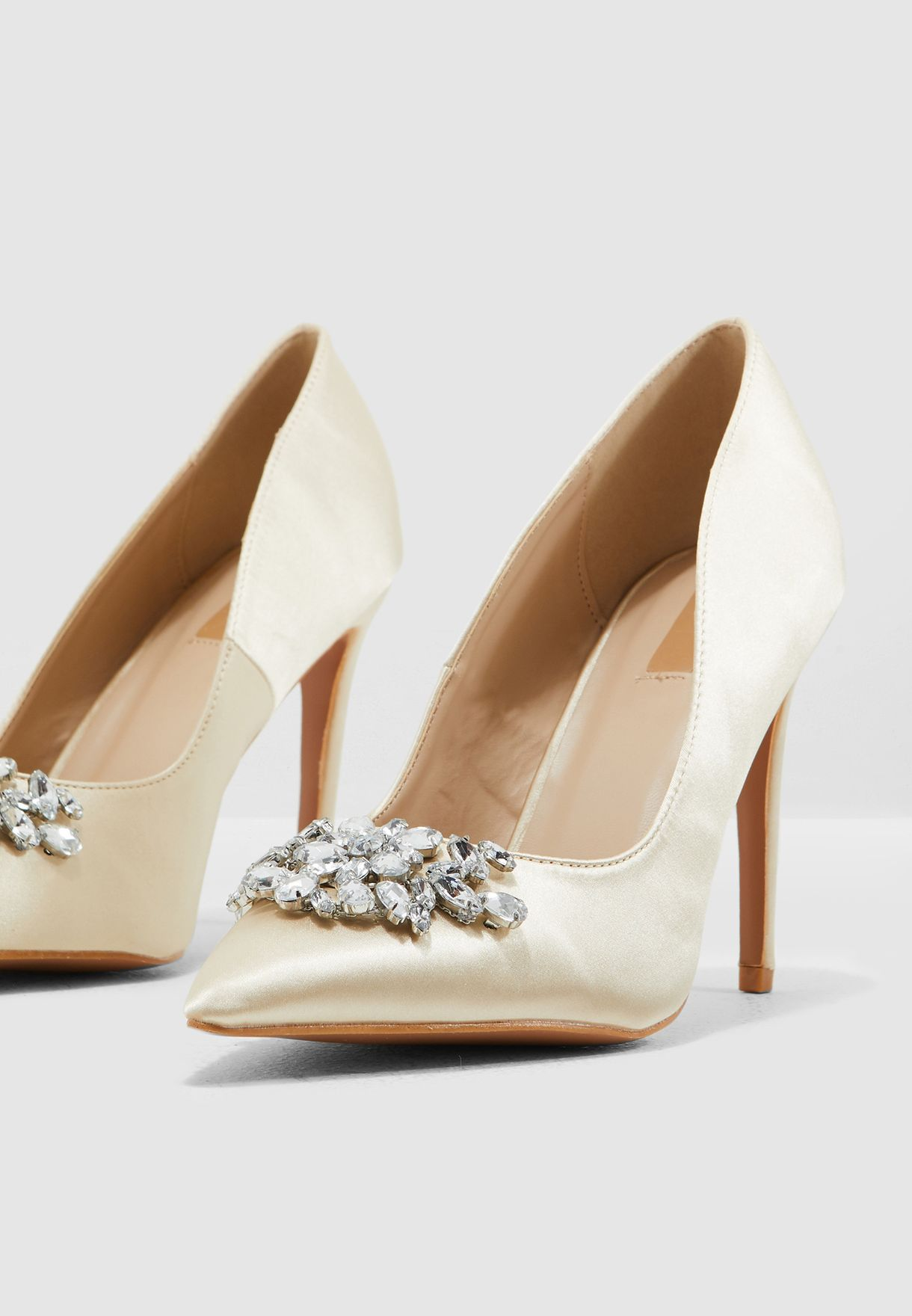 Satin Court Shoe With Embellishment