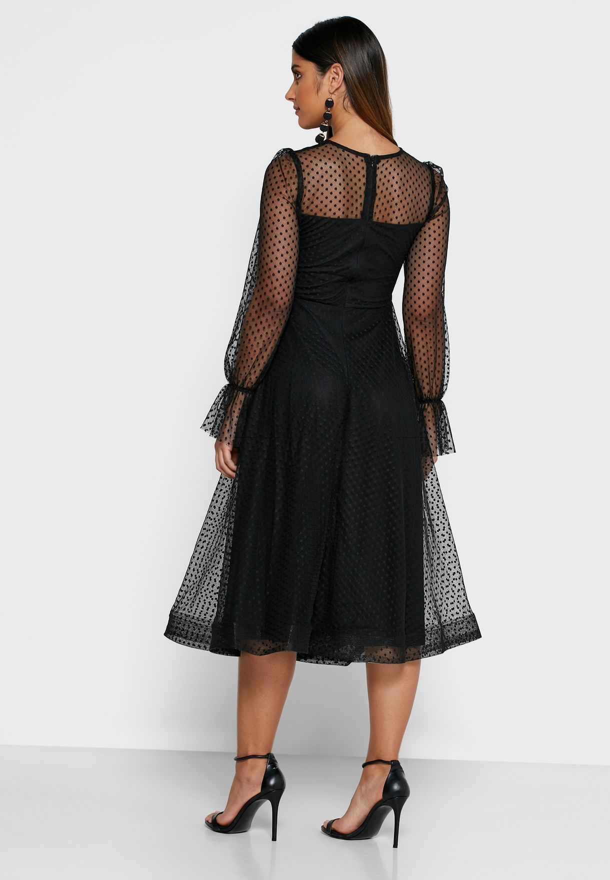 Dotted Mesh Overlay Midi Dress