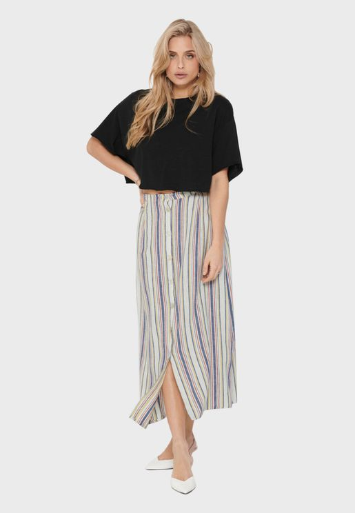Button Through Striped Skirt