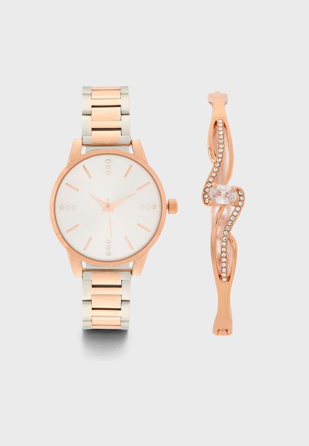 Diamante Watch and Bracelet Gift Set