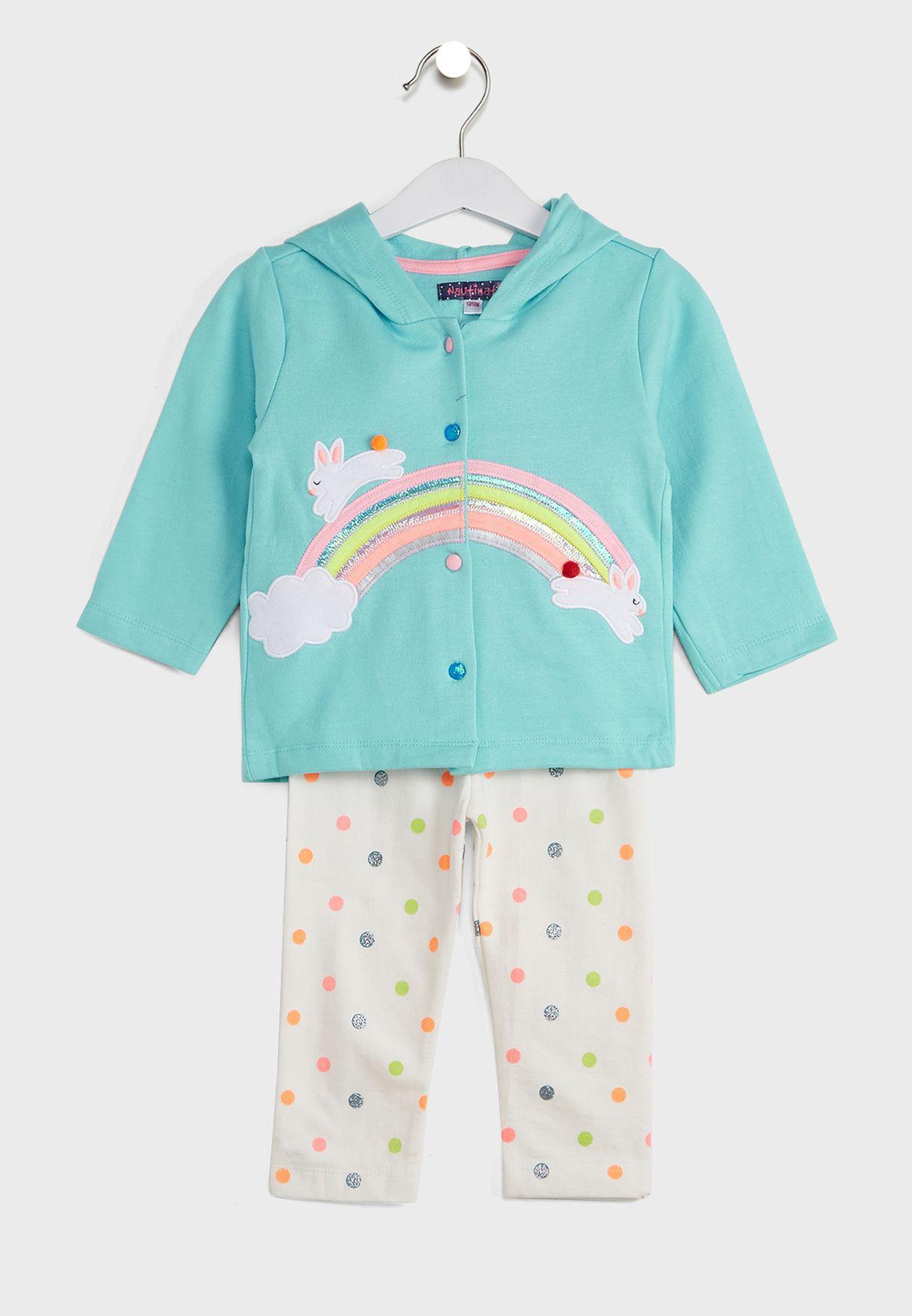 T-Shirt Rainbow Applique Sweatshirt With Pyjamas