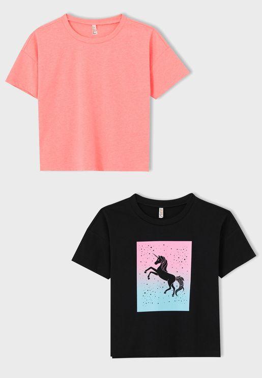 Kids 2 Pack Assorted Crew Neck T-Shirt