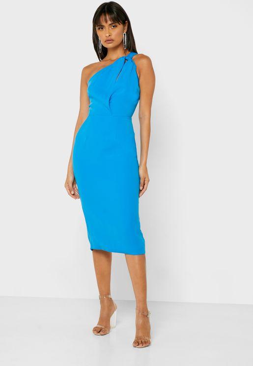 Cut Out One Shoulder Back Slit Dress