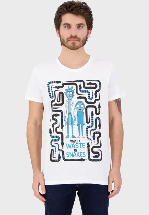Rick & Morty Waste Of Snakes Crew Neck T-Shirt